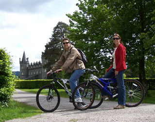 Cycling trip at Inverary Castle, Scotland